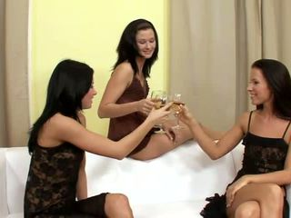 Suzi and Jane and Lulu superb lesbians drinking and undressing on the couch