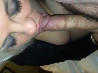 Blonde granny sucking a hairy cock