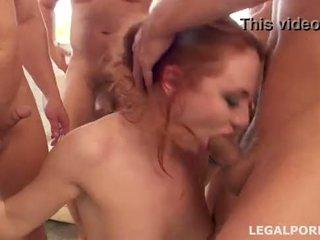 Sperm Junkie #2, Eva Berg swallows 17 cumshots after her first DAP GIO052