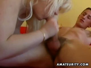 Chubby amateur blond sucks and fucks at home