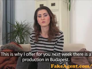 FakeAgent Shy innocent brunette fucked hard in Casting interview
