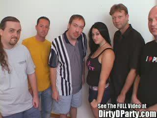 Busty babe Brunette Bukkake Gang Bang Party