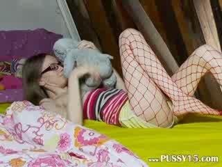 Chick slender girl teasing
