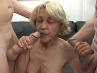 Saggy aleman lola fucked by two guys