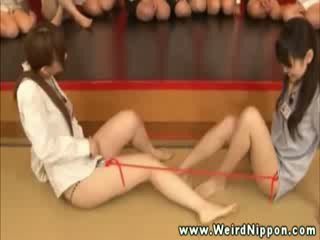 Loser off lesbian slip pulling contest get vibrator treatment on her pussy