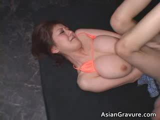 Big tits real asian ginger getting her