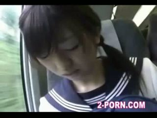 Jap schoolgilrl blowjob to geek on the train 01
