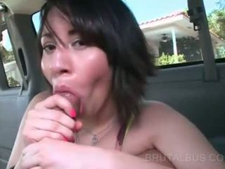 Sweet ass babe pounded from behind in bus