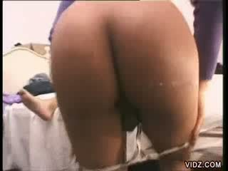 Tgirl tramp gets nasty with two shafts