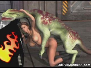 3d κορίτσι impaled με εξωγήινος dragon