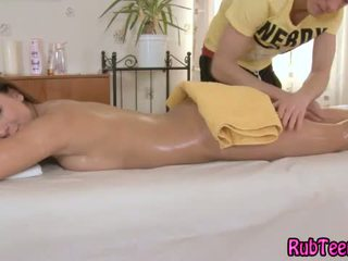 brunette, babe, massage