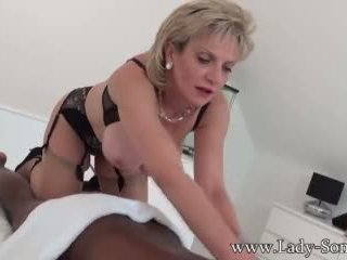 Lady Sonia black guy massage with happy ending