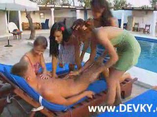Girls attack lucky boy Video