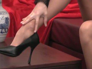foot fetish, fingering, long legs