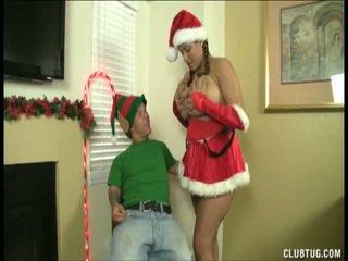 Santas sierlijk helper has milked droog