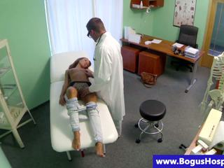 Raunchy doctor fucks a slender teen patient