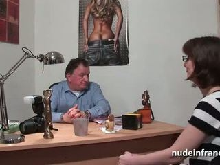 Pretty amateur brunette with big tits hard banged for her porn casting couch