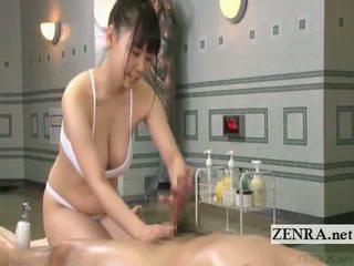 Subtitle Japanese Sauna Lady Soapy Massage With Handjob
