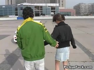 Young girl on roller skates sucks cock on balcony