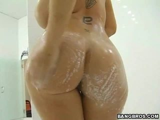 hardcore sex, big tits, shower, from behind, cock ride, milf sex