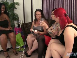 Bbw balchoelette vakarėlis turns kietas lesbietiškas seksas