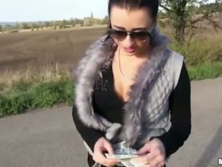 Nasty Czech girl asshole banged for cash