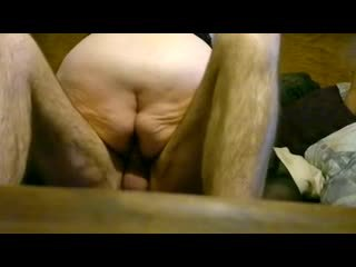 Fat granny riding on young dick
