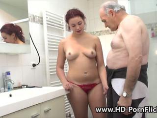 Redhead is fucked by her boyfriend followed by a grandpa