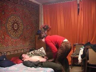 Russian mature mom and her boy! Amateu...