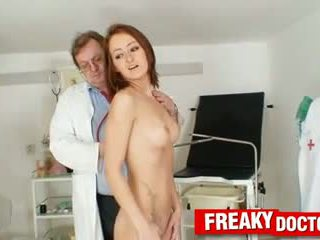 Lean and petite babe Lidka dildo-fucked by daddy doctor