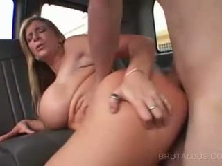 Chesty blondinka fucked on back seat and facialized