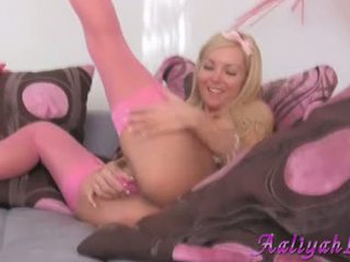 Aaliyah Love Use Beloved Pink Dildo To Fuck Her Cum Hole