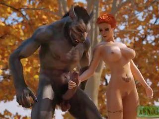 Litt rød riding hood attacked & knullet av 3d monster werewolf i mystique forest. 3dx fairy tail parodi