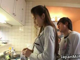 日本の, キッチン, milf