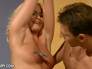 Dominated Girls: Horny hunk torturing tied gorgeous blonde slave