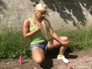 Blonde Teen Masturbating In The Garden