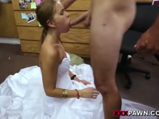 Hot sexy Bride choke sucking my big cock