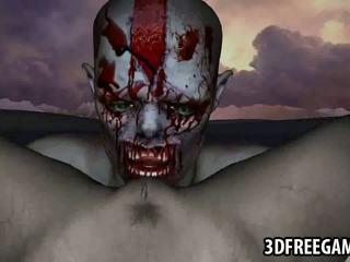 Heet 3d tekenfilm zombie babe gets licked en geneukt