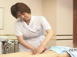 Subtitled ผู้หญิงใส่เสื้อผู้ชายไม่ใส่เสื้อ ญี่ปุ่น ใช้มือ spa กลุ่ม demonstration