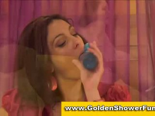 Clothed golden shower piss party