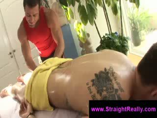Muscle homo masseur tries to seduce hetro homo into homo sex